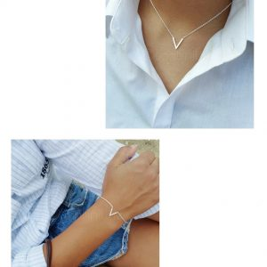 Silver plated V armband + ketting (€5,- combivoordeel)