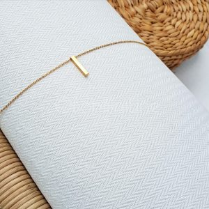 Thin bar gold plated necklace