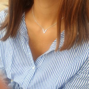 V'tje silver plated ketting