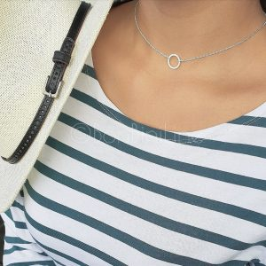 Circle silver plated necklace (laatste stuk)