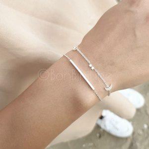 Silver plated bar + universum armband  (€7,- combivoordeel)