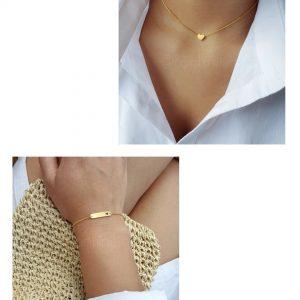Gold plated hartje ketting + hartje bar armband (€10 ,- combivoordeel)